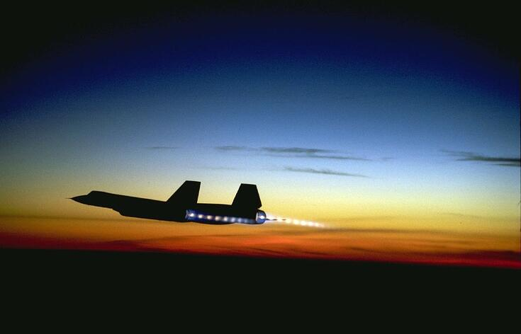 SR-71 Blackbird at Sunset showing afterburners on. (Source: Lockheed Martin)