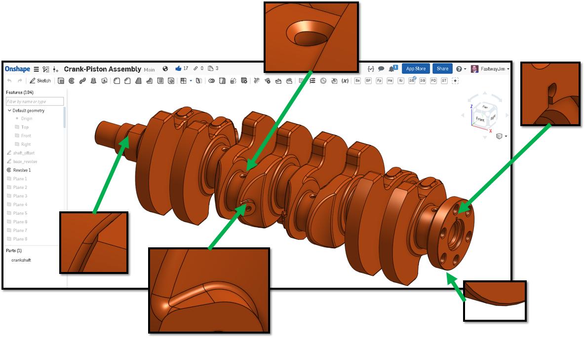 Mazda Miata Crankshaft CAD