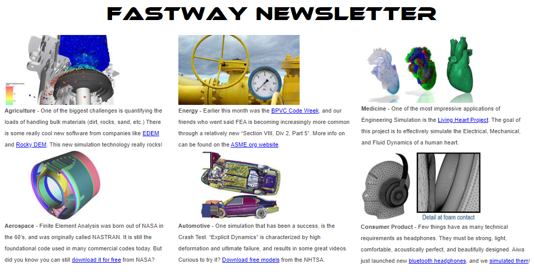 fastway engineering cad cae fea cfd training classes consulting newsletter archive autodesk nastran ansys ptc creo solidworks simscale